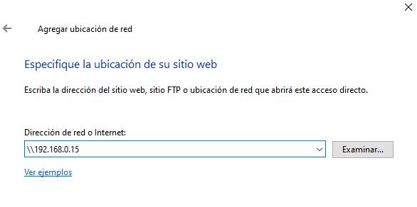 Añadir ubicación de red Windows 10